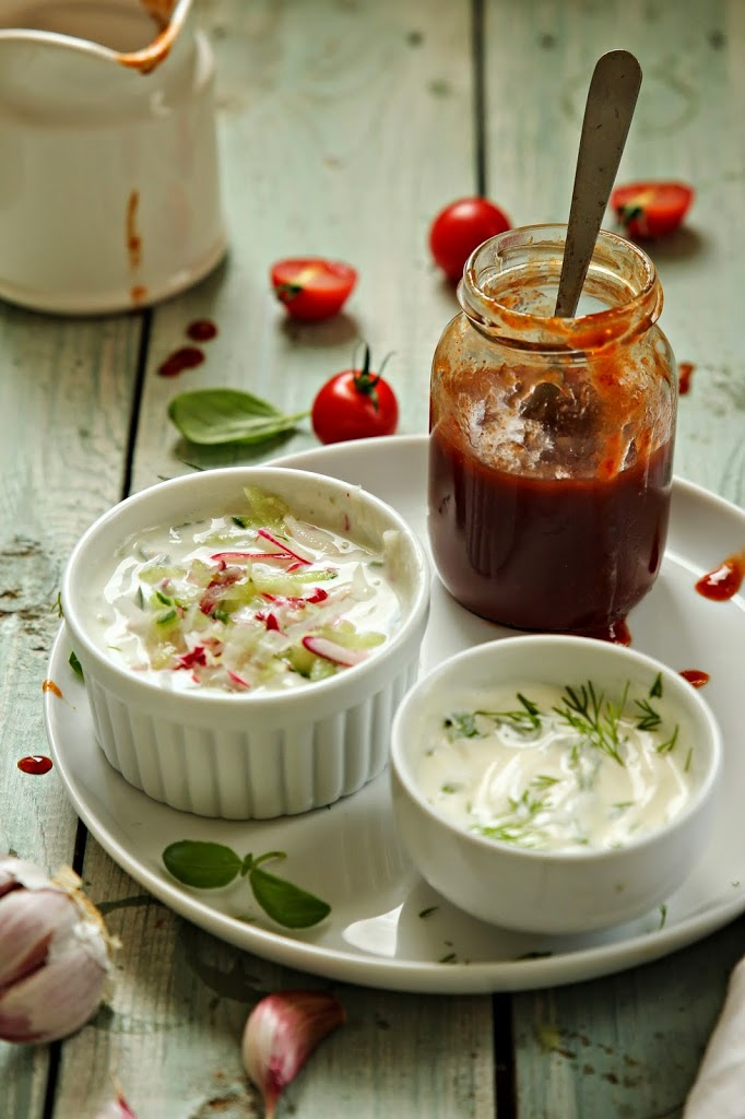 Garlic,tzatziki and BBQ sauce