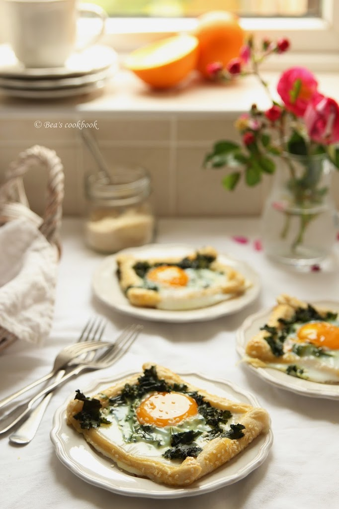 Puff pastry EGG and KALE bakes.